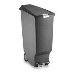 Simplehuman - simplehuman Grey Slim Plastic Step Can - Its stylish and space-efficient design means you can store this sharp-looking, user-friendly 40-liter step can almost anywhere.