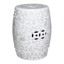 Belle & June - Celadon Green Garden Stool with Twisted Lotus Pattern - Move the porcelain garden stool indoors to use as a glamorous side table or extra seating when necessary. It's small enough to stash in a corner but definitely don't hide this beauty away – it's an elegant piece that deserves to be displayed.