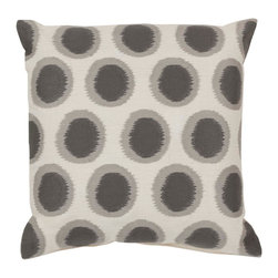 "Surya AR090-2222P 100% Linen 22"" x 22"" Decorative Pillow - Add fun to any room with this polka-dot design and colors of papyrus and flint gray. This pillow has a polyester fill and zipper closure. Made in India with one hundred percent linen, this pillow is durable and priced right. Filler: Poly Fiber. Shape: Square."