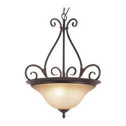 Trans Globe Lighting - Trans Globe Lighting Victorian Tea Glass Transitional Inverted Pendant Light - Curved and wispy arms finished in Rubbed Oil Bronze on this Transitional Inverted Pendant Light make this light the perfect fixture to add sophistication into your home. The Tea Stain glass shade with bronze finial will give any room a classic yet modern flair.