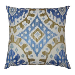 Designer Pillows Workshop - Embroidered Ikat Pillow in Blue/Gold - One custom made pillow using Ikat embroidered in blues and golds on cotton fabric. Light blue cotton fabric on back, sewn shut with luxury down/feather blend pillow filler.  Our pillows are specially constructed using an additional cotton lining to prevent puckering and allows the pillow to naturally retain its shape.