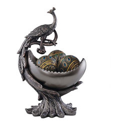 EttansPalace - Peacocks Plumage Sculpture Centerpiece Bowl Accent - From its curvaceous feathers wrapped to cradle the generous peacock vessel, this peacock bowl demands center stage as a statement piece worthy of any guests attention. Cast in quality design resin to capture each sculptural detail, This exclusive boasts a dark bronze finish. A set of three designer resin peacock-feathered orbs adds a fitting accent! Decorative Ball and Sphere not included.