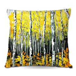 DiaNoche Designs - Pillow Woven Poplin by Aja Anns Fall Aspens - Toss this decorative pillow on any bed, sofa or chair, and add personality to your chic and stylish decor. Lay your head against your new art and relax! Made of woven Poly-Poplin.  Includes a cushy supportive pillow insert, zipped inside. Dye Sublimation printing adheres the ink to the material for long life and durability. Double Sided Print, Machine Washable, Product may vary slightly from image.
