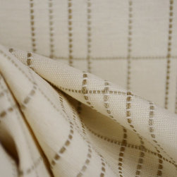 Waverly Windemere Dune Embroidered Plaid Fabric - Waverly fabric Windemere Dune.  Great neutral upholstery fabric from PK Lifestyles with a raised embroidered window pane look.  Heavy enough to cover furniture, add throw pillows to a sofa or cover the whole sofa with it.  Pair it with other neutral tones in floral and solids to create a designer look in any room.