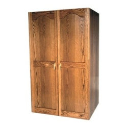 Vinotemp - VINO-700-U Oak Wine Cooler Cabinet with Glass Doors with 440-Bottle Capacity  Un - This sturdy wine cabinet with its dual paned thermal glass doors is not only storage and protection for up to 440 bottles of wine its a piece of furniture that will last through the years An unfinished oak interior protects your wine collection from ...