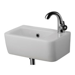 ALFI brand - ALFI brand AB101 Small White Wall Mounted Ceramic Bathroom Sink - A simple small porcelain wall mounted bathroom sink is sometimes harder to find than you might think. This Alfi brand sink model offers a modern sink design in a compact size and convenient shape. Perfect for upgrading small bathrooms or powder rooms. *Faucet not included.