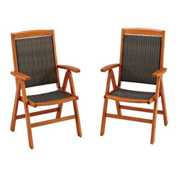 "Lamps Plus - Transitional Bali Hai Set of 2 Eucalyptus Outdoor Dining Chairs - Set of 2 outdoor dining chairs. Eucalyptus finish eco-friendly plantation grown Shorea wood construction. Cycroplene™ synthetic-weave. 7-position adjustable backs. Foldable for easy storage. Island-inspired design. 42 1/2"" high. 25"" wide. 24 3/4"" deep.   Set of 2 outdoor dining chairs.  Eucalyptus finish eco-friendly plantation grown Shorea wood construction.  Cycroplene™ synthetic-weave.  7-position adjustable backs.  Foldable for easy storage.  Island-inspired design.  42 1/2"" high.  25"" wide.  24 3/4"" deep."
