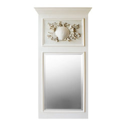"""Karen Robertson - Coral Trumeau Mirror by Karen Robertson - The traditional 18th century French tumeau mirror draws a new design with an ornate cluster of hand-casted shell and corals. The large scaled contemporary wall classic is designed for the sophisticated coastal space. (KR) 31"""" wide x 69"""" high"""
