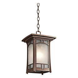 """Kichler - Arts and Crafts - Mission Kichler Soria Aged Bronze Hanging Outdoor Light - A vintage-inspired flair creates the charm of this single-bulb outdoor hanging light. The decorative rectangular metal frame and canopy feature a warm aged bronze finish enclosed by diffusing vetro mica glass panels. Ideal for a porch garage or any exterior wall that needs charm and illumination. A stylish choice from Kichler outdoor lighting. Warm vintage-look hanging outdoor light. Aged bronze finish. Metal construction frame and canopy. Vetro mica glass. One max 100 watt bulb (not included). From Kichler outdoor lighting. 14"""" high. 9"""" wide. Square canopy is 5"""" wide. Includes matching chain.  Warm vintage-look hanging outdoor light.  Aged bronze finish.  Metal construction frame and canopy.  Vetro mica glass.  From Kichler outdoor lighting.  One max 100 watt bulb (not included).  Damp location rated only.  14"""" high.  9"""" wide.  Square canopy is 5"""" wide.  Includes matching chain."""
