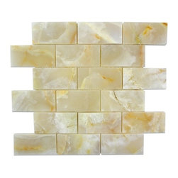 """Marbleville - White Onyx 2"""" x 4"""" Polished Finish Mesh-Mounted Mosaic in 12"""" x 12"""" Sheet - Premium Grade White Onyx 2"""" x 4"""" Polished Mesh-Mounted Onyx Mosaic is a splendid Tile to add to your decor. Its aesthetically pleasing look can add great value to any ambience. This Mosaic Tile is made from selected natural stone material. The tile is manufactured to high standard, each tile is hand selected to ensure quality. It is perfect for any interior projects such as kitchen backsplash, bathroom flooring, shower surround, dining room, entryway, corridor, balcony, spa, pool, etc."""