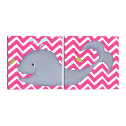 "Doodlefish - Wendy Whale Diptych - A Diptych is a set of two pieces of art that start on one side and continue to the other. This set of 18"" x 18"" Gallery Wrapped Giclee Prints feature a smiling whale and a cute green fish. The background of the artwork is a bright pink and white chevron. You can also purchase this set with personalization and in several other colors."