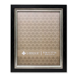 Lawrence Frames - 8x10 Black with Burnished Silver Inner - High quality black and burnished silver composite picture frame.  Beautifully finished picture frame that will be a great decorative addition to any room.  Comes with a two way easel for vertical or horizontal table top display, and hangers for vertical or horizontal wall mounting.  High quality black velvet backing.  Picture frame comes with glass to protect your photo, and is individually boxed.