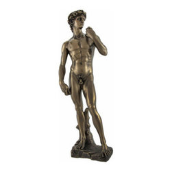 Michelangelo's David Bronzed Statue 12 Inch. - Michelangelo's statue of King David is one of the most famous sculptures in the world. Created between 1501 and 1504, the original now resides in Galeria dell'Academia, in Florence, Italy. This reproduction of the famous statue stands 12 1/4 inches tall, is 4 1/2 inches wide and 3 inches deep. Made of cold cast resin, it has a wonderful bronzed finish, that gives it the look of metal, and shows incredible detail. This piece makes a great gift, and looks lovely on bookshelves, mantels, and tables anywhere in your home.