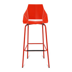 Blu Dot - Blu Dot Real Good Barstool, Red - Thin is in. Powder-coated steel ships flat and folds along laser-cut lines to create a dynamic and comfortable chair. As skinny as a supermodel yet far more sturdy. Available in aqua, ivory and white with gray legs or two glossy tone-on tone colors: satin black or humble red. Also available in copper.