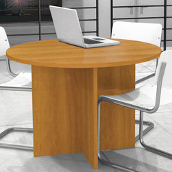 "Bestar - 42"" Round Meeting Table in Cappuccino Cherry - Durable 1"" commercial grade work surfaces with melamine finish that resist scratches, stains and wears. Deluxe 0.25 cm PVC edge. This item meets or exceeds ANSI/BIFMA performance standards.; Color: Cappuccino Cherry ; Dimensions: 42""L x 42""W x 30.4""H"