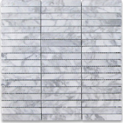 "Stone Center Corp - Carrara White Marble Rectangular Stacked Mosaic Tile 5/8x4 Polished - Carrara White Marble 5/8x4"" pieces mounted on 12x12"" sturdy mesh tile sheet"