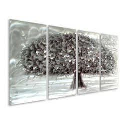 Pure Art - Tree of Fertility and Abundance Handcrafted Aluminum Wall Art Set of 4 - Get a sense of the invigorating atmosphere that is brought to any area with the Tree of Fertility and Abundance Handcrafted Aluminum Wall Art Set of 4. Rejuvenate your sense of style when you adorn the surroundings of your splendid bedroom with this expert metal wall art piece. Group all the eyes in your family room together when the spell of this fine work of art captures their minds bringing evolving fantasies to life. Bask in the glow of moonlight as you long for a dream come true. Grasp the roots of an atmosphere that relaxes anyone entering your home's foyer for a leisurely visit.Made with top grade aluminum material and handcrafted with the use of special colors, it is a very appealing piece that sticks out with its genuine glow. Easy to hang and clean.