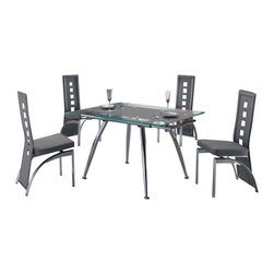 "American Eagle Furniture - 220DT & 104CH Extendable Grey Glass Table & Vinyl Chairs 5 Piece Dining Set - The 220DT & 104CH dining set is a great addition for any dining room that needs a touch modern design. The dining table has a glass table top that features a grey printed strip down the middle. The table comes i9n a standard size of 32.5"" but can be extended up to 39"" for larger gatherings. The frame of the table is crafted from polished stainless steel and has a four leg design. The chairs come upholstered in a stunning grey vinyl material with high density foam placed within the cushion for added comfort. The chairs have a unique open square design on the back that adds to the overall look. The frame of the chairs are crafted from polished stainless steel with the backrests extending down to the legs. The dining set consist of a dining table and four chairs only."