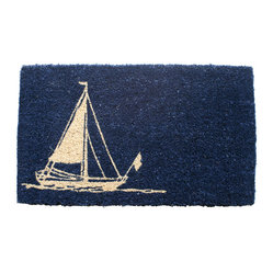 Entryways - Sailboat Hand Woven Coconut Fiber Doormat - Single Doormat, hand-woven, hand-painted, hand-stenciled, fade resistant, natural coir (coconut fiber), durable, best location is covered area, shake or sweep clean.