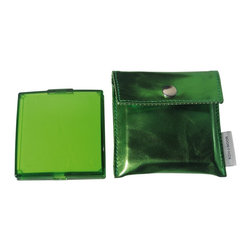 Modo Bath - Toeletta 391P Square 3x Magnifying Pocket Mirror in Green - Toeletta 391 Pocket Travel Mirror, 3x Magnification, in Coloured ABS, with Case