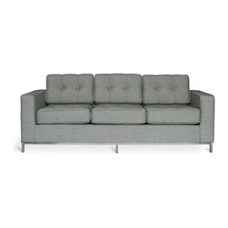 Gus Modern - Jane Sofa by Gus Modern - Urban Tweed Ink - The Jane is a classic, button-tufted club sofa with a distinct Mid-Century feel. It features a stainless steel perimeter base. Constructed with 100% FSC®-Certified Wood in support of responsible forest management.