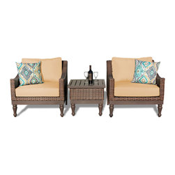 TKC - Soho 3 Piece Outdoor Wicker Patio Furniture Set 03a 2 for 1 Cover Set - Features: