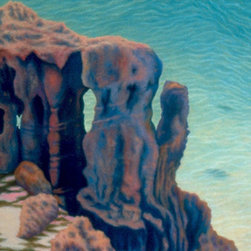 """Cathedral Rocks"" - A medium-size oil painting (26"" X 46"") of water-carved coral rocks above a turquoise cove in Bermuda. The main colors are pastels (aqua, pink, peach, pale yellow, pale purple) (Photo credit: Patricia Waldygo)  FREE SHIPPING, which includes a wooden crate built to the painting's specifications.  Return Policy: Paintings can be returned within one week for a full refund, minus the shipping and crate charges to the buyer that the artist paid for. Return shipping charges must be paid by the buyer."