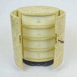 Handmade R&Y Augousti Shagreen Jewelry Chest - Dimensions:L 10''  × W 8''  × H 14''