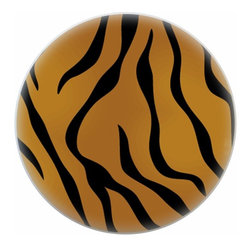 Tiger Animal Print Ceramic Cabinet Drawer Pull Knob - New 1 1/2 inch ceramic cabinet, drawer, or furniture knob with mounting hardware included. Also works great in a bathroom or on bi-fold closet doors (may require longer screws).  Item can be wiped clean with a soft damp cloth.  Great addition and nice finishing touch to any room.