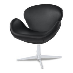 Zuri Furniture - Swan Modern Swivel Occasional Chair - Black - The funky Swan swivel chair black is a brilliant piece of design; a practical item that looks stylish in any setting. Covered in soft black faux leather, the seat of the Swan instantly catches the eye, with high wings either side cosseting your body and a wide supportive backrest at the rear. Padded entirely in high density foam, the Swan is comfortable and relaxing, making it ideal anywhere in the home, from bedroom to living room.