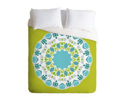 Karen Harris Mod Medallion Green Twin Duvet Cover - You're sure to wake up in a good mood with this fun duvet cover on your bed. Made from woven polyester, it features lime, aqua, gray and white custom-printed in an overscale medallion pattern. Pop in your favorite duvet, zip the hidden zipper and rest easy.