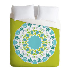 DENY Designs - Karen Harris Mod Medallion Green Twin Duvet Cover - You're sure to wake up in a good mood with this fun duvet cover on your bed. Made from woven polyester, it features lime, aqua, gray and white custom-printed in an overscale medallion pattern. Pop in your favorite duvet, zip the hidden zipper and rest easy.