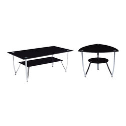 Global Furniture - Global Furniture USA T601 2-Piece Black Glass Coffee Table Set with Chrome Legs - This contemporary table boasts plenty of style with a chrome arch base and oval glass top this piece will make the perfect addition to your living space.