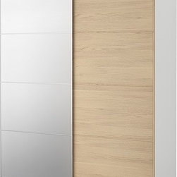 IKEA of Sweden - PAX Wardrobe with sliding doors - Wardrobe with sliding doors, white, Malm mirror/white stained oak