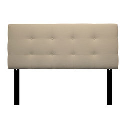 Sole Designs - 8-button Tufted Carlsbad Ivory Headboard - Enjoy comfortable back support while doing late-night reading and add an elegant touch to your bedroom with the addition of this tufted ivory headboard. The height is adjustable, so it will fit your bed, regardless of the height of your mattress.