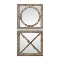 Uttermost - Uttermost Baci E Abbracci, Wooden Mirrors Set of 2 07067 - Frames are made of solid wood construction accented with a light gray wash.