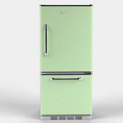 Retropolitan Fridge, Jadite Green - If you have a true love affair with this color, you should opt for the mint refrigerator. The retro design and style would look great in an older home with vintage touches. There is a matching dishwasher and oven too, so your whole kitchen can feel minty fresh. This set would feel really modern in an all-white space.