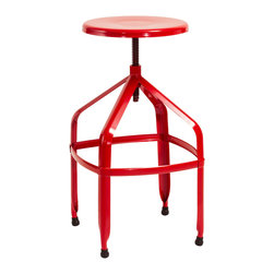 Great Deal Furniture - Izzy Steel Adjustable Swivel Stool, Red - The Swivel Stool is a great addition to any room in your home. With its adjustable stool height and modern style, this bright colored stool grabs attention while its functionality makes this piece a must have for your interior space.