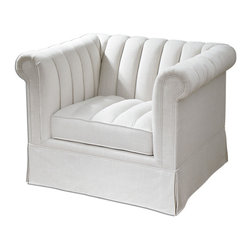 "Uttermost - Evania White Tufted Armchair - Creamy-white, neutral linen in a soft and durable blend graces this update on classic chesterfield style, refreshed with streamlined channel tufts over traditional rolled arms and back, and attached welted box cushion. Pleated skirt falls over solid wood frame with built-in leg construction. Seat height is 19""."