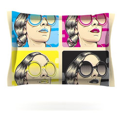 "Kess InHouse - Roberlan ""CMYK Fashion"" Pop Art Pillow Sham (Cotton, 40"" x 20"") - Pairing your already chic duvet cover with playful pillow shams is the perfect way to tie your bedroom together. There are endless possibilities to feed your artistic palette with these imaginative pillow shams. It will looks so elegant you won't want ruin the masterpiece you have created when you go to bed. Not only are these pillow shams nice to look at they are also made from a high quality cotton blend. They are so soft that they will elevate your sleep up to level that is beyond Cloud 9. We always print our goods with the highest quality printing process in order to maintain the integrity of the art that you are adeptly displaying. This means that you won't have to worry about your art fading or your sham loosing it's freshness."
