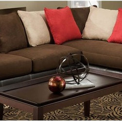 Chelsea Home - 2-Pc Logan Sectional Set - Includes right arm facing chaise and left arm facing sofa with toss pillows. Side table and coffee table not included. Medium seating comfort. Reversible seat cushion. Nailed, stapled and corner blocked frame. Cover: Sienna red rock/sienna buff/sienna chocolate/san Marino mocha. Fabric content: 100% poly/78% poly vinyl chloride, 2% polyurethane, 20% TC backing. 1.5 dacron wrapped foam cores. Constructed with sinuous springs to provide no sag seating. Made from solid hardwoods and plywoods. Made in USA. No assembly required. Chaise: 80 in. L x 38 in. W x 37 in. H (150 lbs.). Sofa: 71 in. L x 38 in. W x 37 in. H (175 lbs.). Overall: 109 in. - 80 in. L x 38 in. W x 37 in. H (325 lbs.)