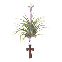 "Spirit Pieces - Tillandsia Air Plant with Wood Cross - Great Religious Home Decor Accent - This is a great item to add to any place looking for a touch of Christ to their home or office.  A living Tillandsia Air Plant has been beaded with crystals and a 2.5"" wood cross suspended underneath.  Total size is 7"", water weekly."
