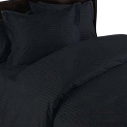 SCALA - 400TC 100% Egyptian Cotton Stripe Black Full Size Fitted Sheet - Redefine your everyday elegance with these luxuriously super soft Fitted Sheet. This is 100% Egyptian Cotton Superior quality Fitted Sheet Set that are truly worthy of a classy and elegant look.