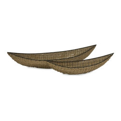 "IMAX CORPORATION - Noremo Woven Outdoor Trays - Set of 2 - The oversized Noremo trays take their inspiration from southeast Asian fishing boats. They are hand woven from PE material on a metal frame. Set of 2. Set of 2 in various sizes measuring around 45""L x 11""W x 9""H each. Shop home furnishings, decor, and accessories from Posh Urban Furnishings. Beautiful, stylish furniture and decor that will brighten your home instantly. Shop modern, traditional, vintage, and world designs."