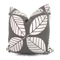 Gray Tiki Leaf Indoor/Outdoor Decorative Pillow Cover by Pop O