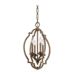 "Metropolitan - Metropolitan N6943-575 Leicester Aged Brass 4 Light Pendant - 15.5"" W x 24.75"" H"