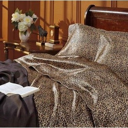 Scent-Sation Charmeuse Satin Leopard Print Sheet Set - Wildly exotic and luxurious, the Scent-Sation Charmeuse Satin Leopard Print Sheet Set will warm up your bedroom decor in sophisticated style. Expertly crafted of finely-woven cotton sateen, this dramatic print set includes one or two pillow cases (depending on the size you choose), a flat sheet and fitted sheet with oversized pockets, and versatile tunnel elastic.About Scent-Sation, Inc.Founded in 1950, Scent-Sation has continually remained focused on manufacturing the finest bedding, sheets, and hangers available. The company took its name from the very first product they manufactured: scented hangers. From there, the company moved on to bedding and sheets, though it didn't leave the aromatic satin hangers behind. Whether you're looking for traditional or contemporary bedding, Scent-Sation has a high-quality option for you, crafted with care and attention to detail.
