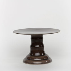 Small Brown Parisian Footed Cake Plate - This modern little stand is the color of truffles. A stand in a color other than white can still be neutral.