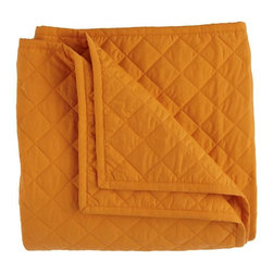 Moving Blanket, Orange - This is reminiscent of a moving blanket, yet it's modern and youthful in a bright orange color.  It would be a great layer underneath a simple duvet.