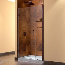 """DreamLine - DreamLine SHDR-20377210S-06 Unidoor Shower Door - DreamLine Unidoor 37 to 38"""" Frameless Hinged Shower Door, Clear 3/8"""" Glass Door, Oil Rubbed Bronze Finish"""